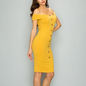 Dresses & Skirts - Mustard Yellow Button Front Ribbed Midi Dress